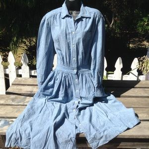 Vintage denim dress cotton chambray long sleeve